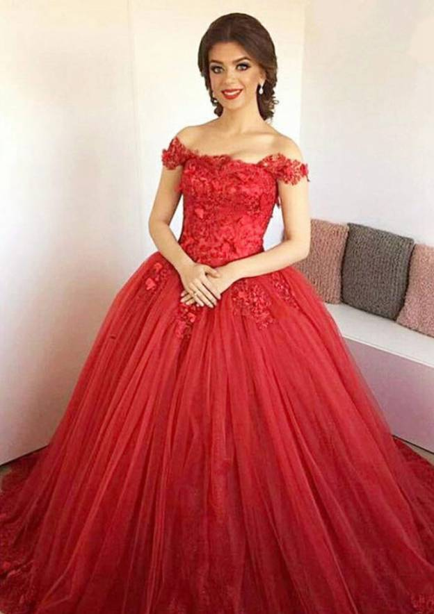 Ball Gown Off-The-Shoulder Sleeveless Sweep Train Tulle Prom Dress With Appliqued