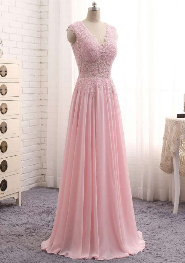 A-Line/Princess V Neck Sleeveless Long/Floor-Length Chiffon Prom Dress With Lace