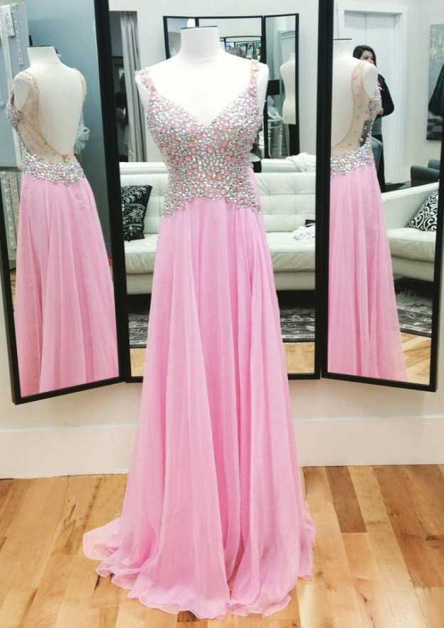 A-Line/Princess Sweetheart Sleeveless Sweep Train Chiffon Prom Dress With Crystal Detailing