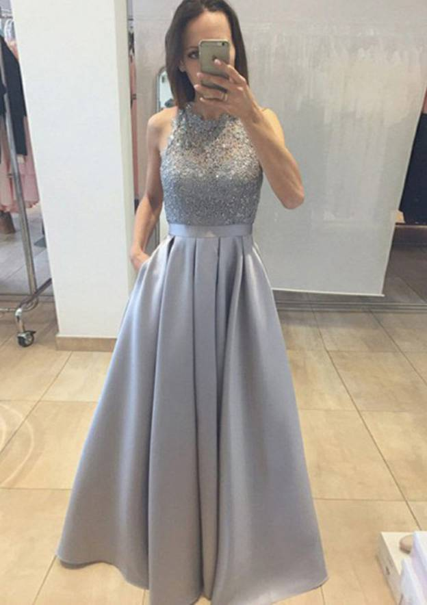 A-Line/Princess Scoop Neck Sleeveless Long/Floor-Length Satin Prom Dress With Lace