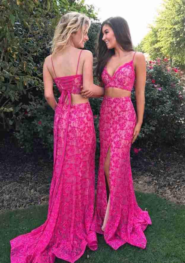 A-Line/Princess Sweetheart Sleeveless Sweep Train Lace Evening Dress With Split