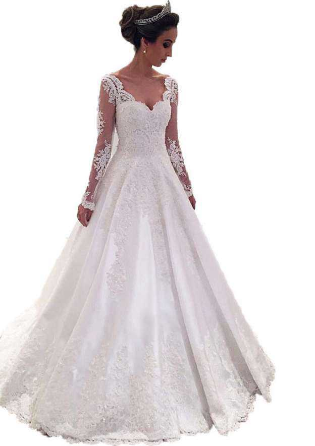 A-Line/Princess Sweetheart Full/Long Sleeve Sweep Train Lace Wedding Dress With Appliqued