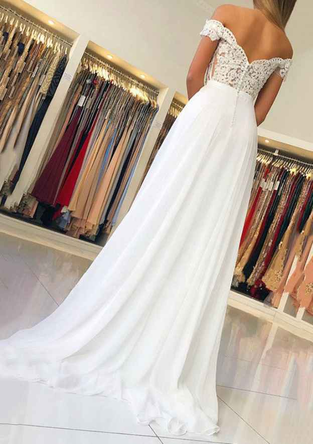 A-Line/Princess Off-The-Shoulder Short Sleeve Sweep Train Chiffon Prom Dress With Beading Appliqued