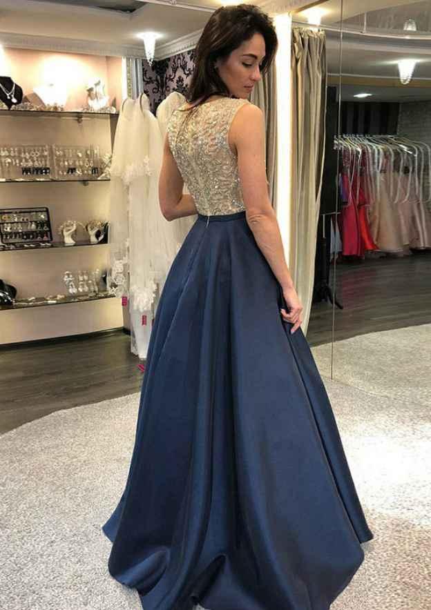 A-Line/Princess Scoop Neck Sleeveless Long/Floor-Length Satin Prom Dress With Beading