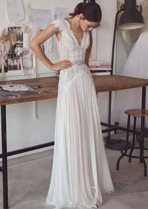 A-Line/Princess V Neck Sleeveless Long/Floor-Length Chiffon Wedding Dress With Beading Lace
