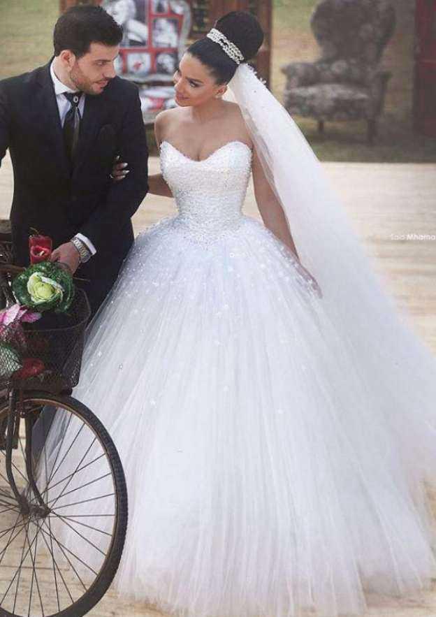 Ball Gown Sweetheart Sleeveless Long/Floor-Length Tulle Wedding Dress With Beading