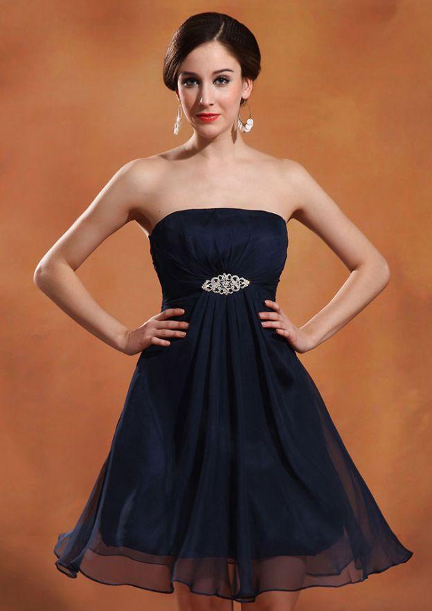 A-Line/Princess Strapless Sleeveless Short/Mini Chiffon Homecoming Dress With Ruffles Beading Pleated