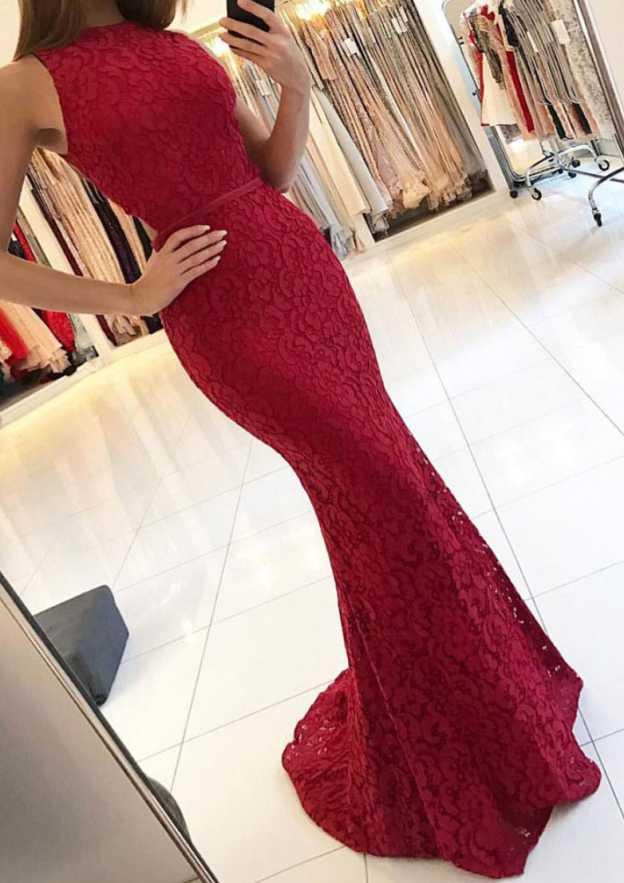 Trumpet/Mermaid Bateau Sleeveless Sweep Train Lace Prom Dress With Sashes