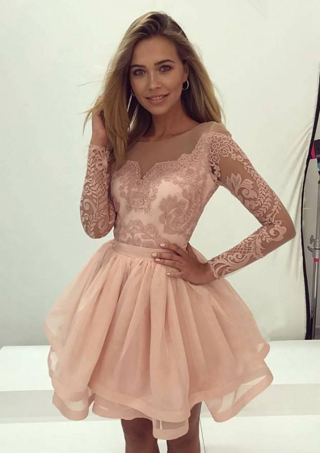 A-Line/Princess Bateau Full/Long Sleeve Short/Mini Organza Prom Dress With Appliqued