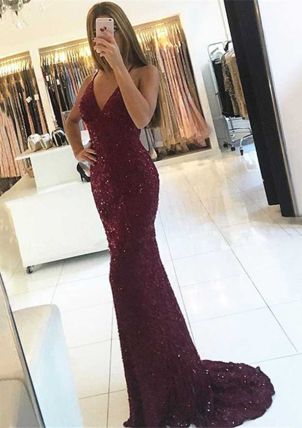 Trumpet/Mermaid V Neck Sleeveless Sweep Train Sequined Prom Dress