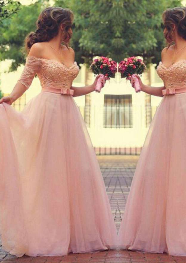 A-Line/Princess Off-The-Shoulder Half Sleeve Long/Floor-Length Tulle Prom Dress With Waistband Beading Lace