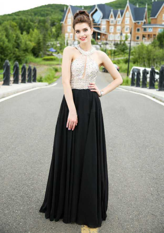 A-Line/Princess Halter Sleeveless Long/Floor-Length Chiffon Prom Dress With Beading