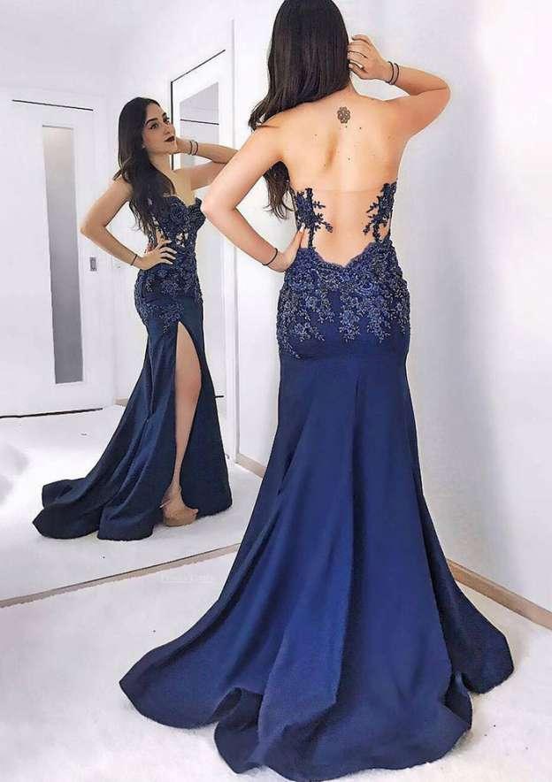 Sheath/Column Sweetheart Sleeveless Sweep Train Elastic Satin Prom Dress With Appliqued