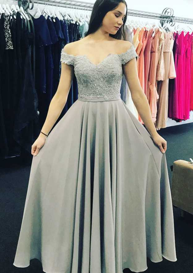 A-Line/Princess Off-The-Shoulder Sleeveless Long/Floor-Length Chiffon Prom Dress With Lace