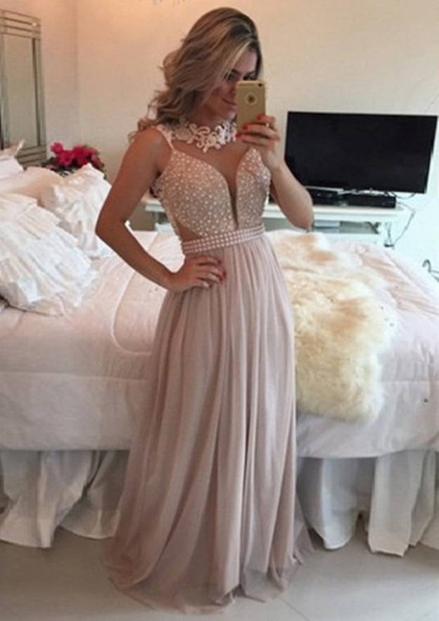 A-Line/Princess Scalloped Neck Sleeveless Sweep Train Chiffon Prom Dress With Beading Appliqued