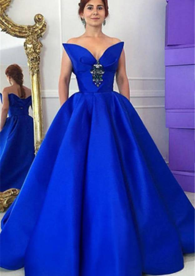 Ball Gown Strapless Sleeveless Long/Floor-Length Satin Prom Dress With Rhinestone Pockets