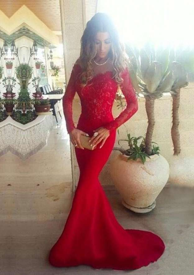 Trumpet/Mermaid Off-The-Shoulder Full/Long Sleeve Sweep Train Jersey Prom Dress With Lace