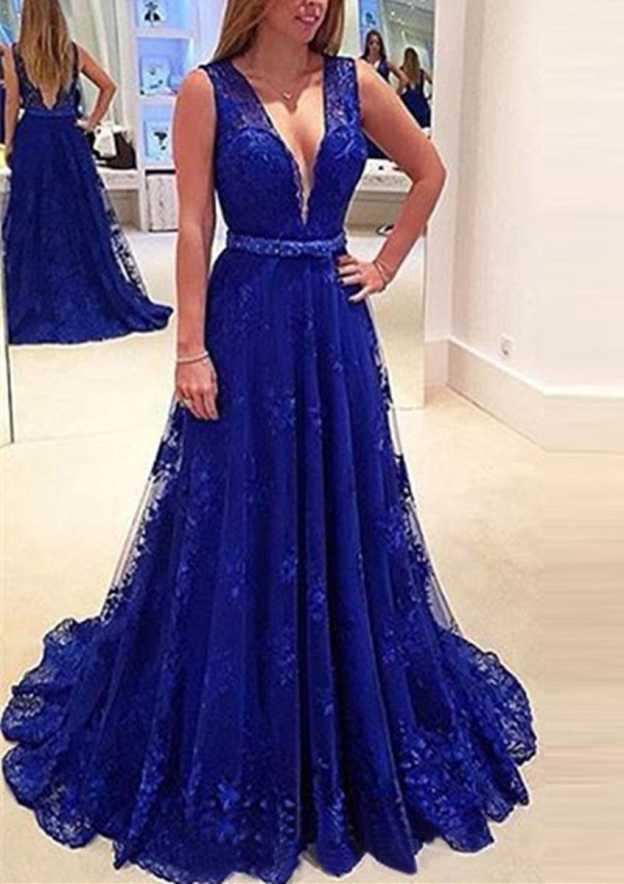 A-Line/Princess V Neck Sleeveless Sweep Train Lace Prom Dress With Waistband Appliqued Beading