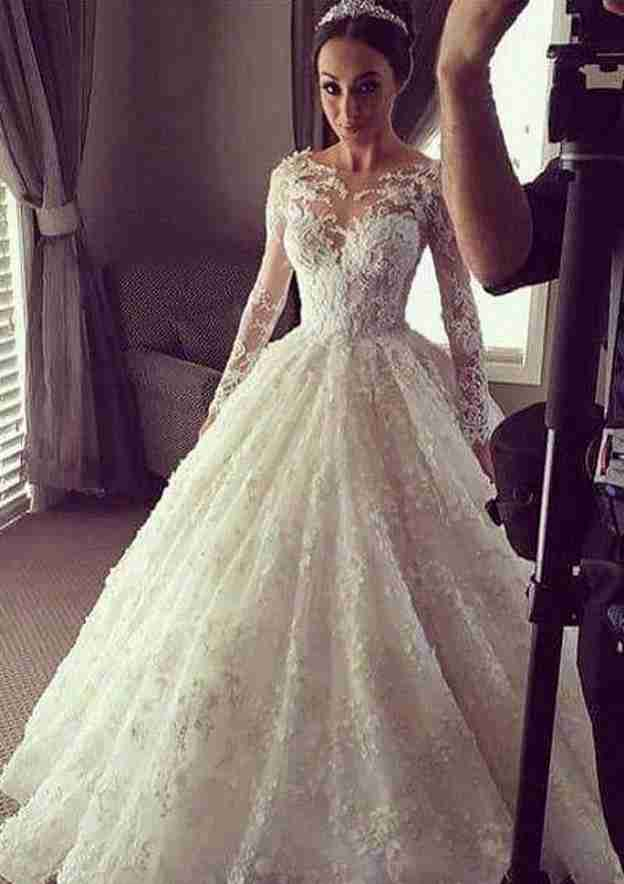 Ball Gown Bateau Full/Long Sleeve Chapel Train Lace Wedding Dress With Appliqued Beading