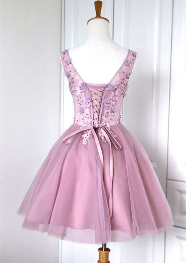 Ball Gown V Neck Sleeveless Short/Mini Tulle Homecoming Dresses With Flowers Appliqued Beading