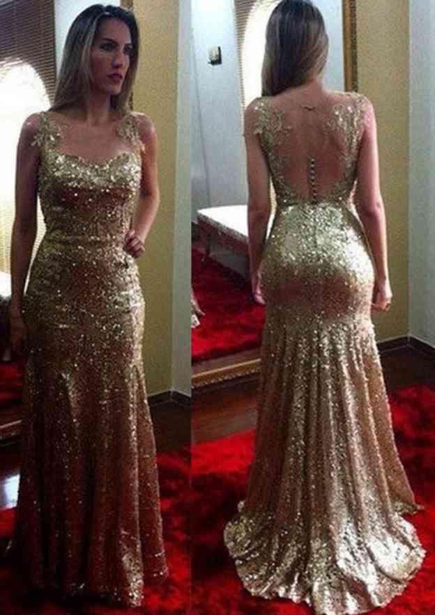 Sheath/Column Bateau Sleeveless Sweep Train Sequined Prom Dress With Appliqued