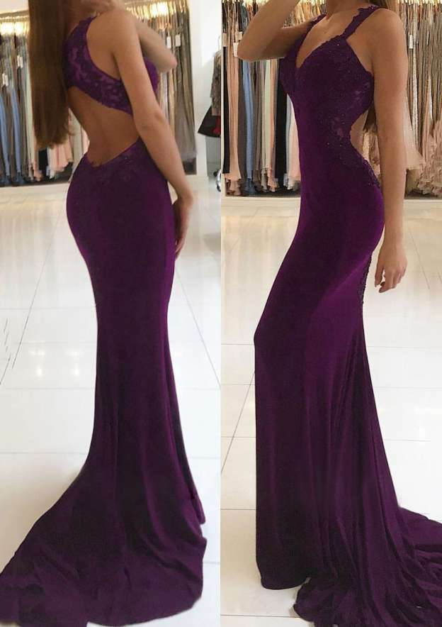 Trumpet/Mermaid V Neck Sleeveless Sweep Train Jersey Prom Dress With Beading Appliqued