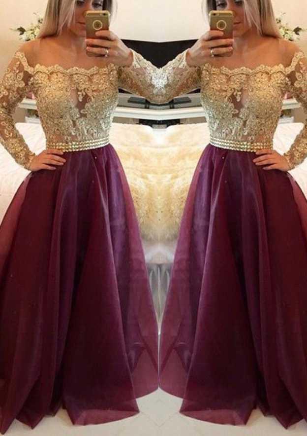 A-Line/Princess Bateau Full/Long Sleeve Long/Floor-Length Organza Prom Dress With Beading Appliqued
