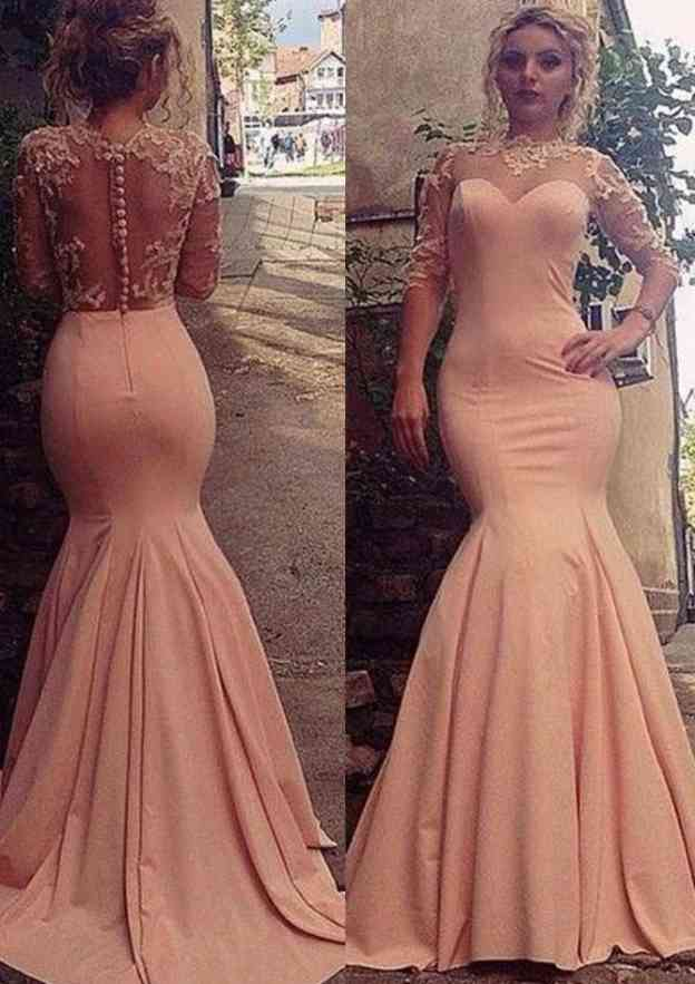Trumpet/Mermaid High-Neck Half Sleeve Sweep Train Satin Prom Dress With Appliqued