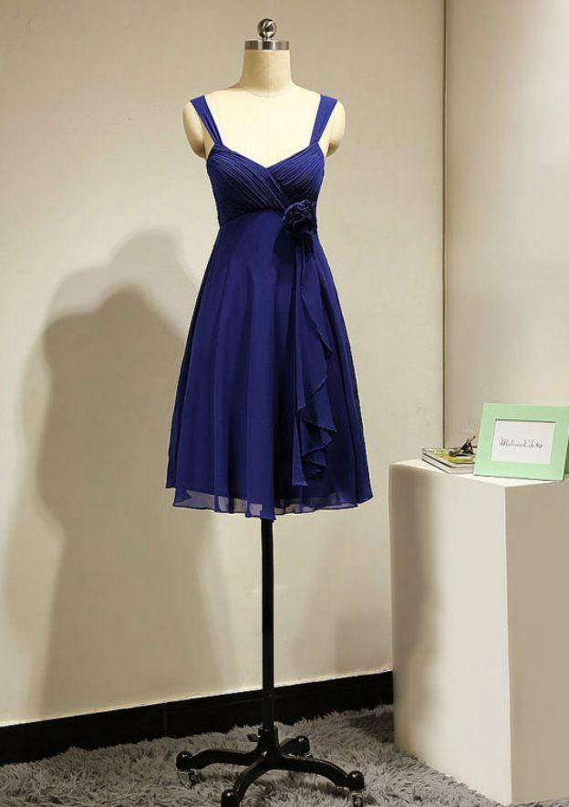 A-Line/Princess Sweetheart Sleeveless Knee-Length Chiffon Bridesmaid Dress With Flowers