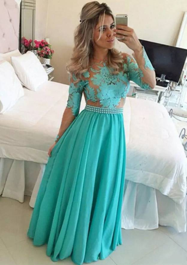 A-Line/Princess Scoop Neck Full/Long Sleeve Long/Floor-Length Chiffon Prom Dress With Appliqued Bowknot