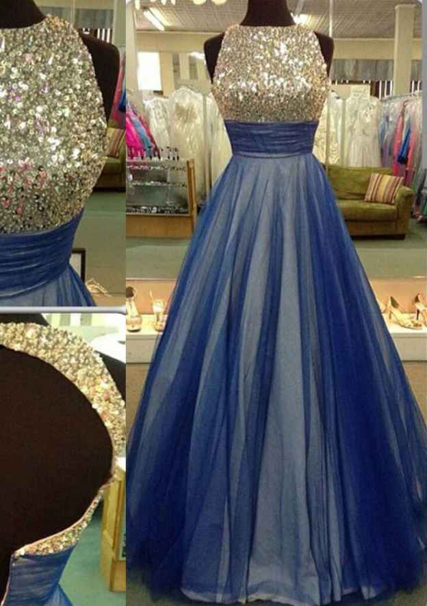Ball Gown Scalloped Neck Sleeveless Long/Floor-Length Tulle Prom Dress With Sequins