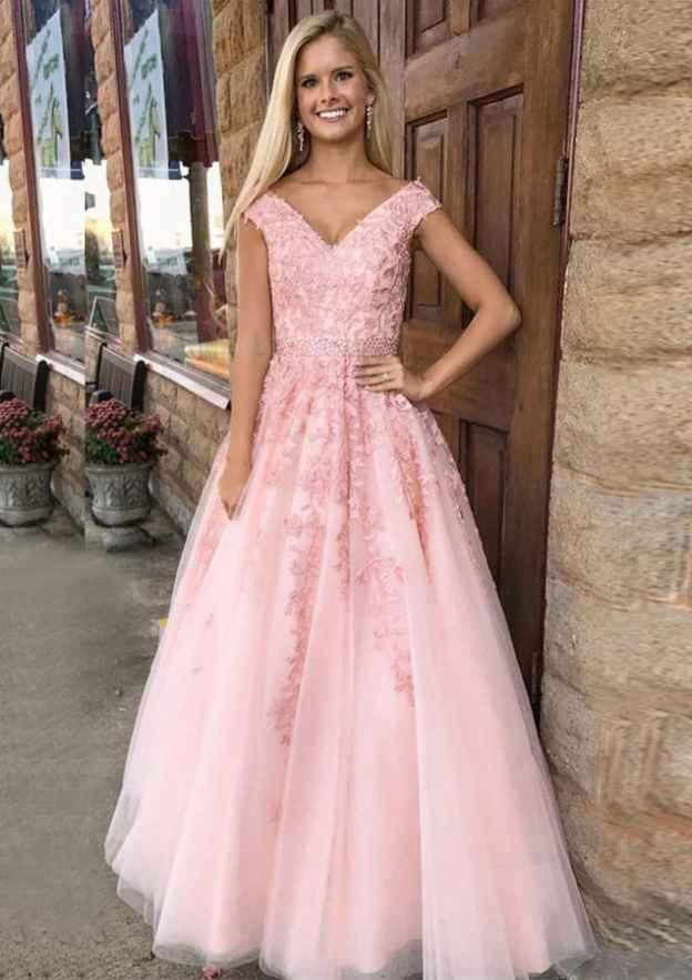 A-Line/Princess V Neck Sleeveless Long/Floor-Length Tulle Prom Dress With Rhinestone Appliqued Beading