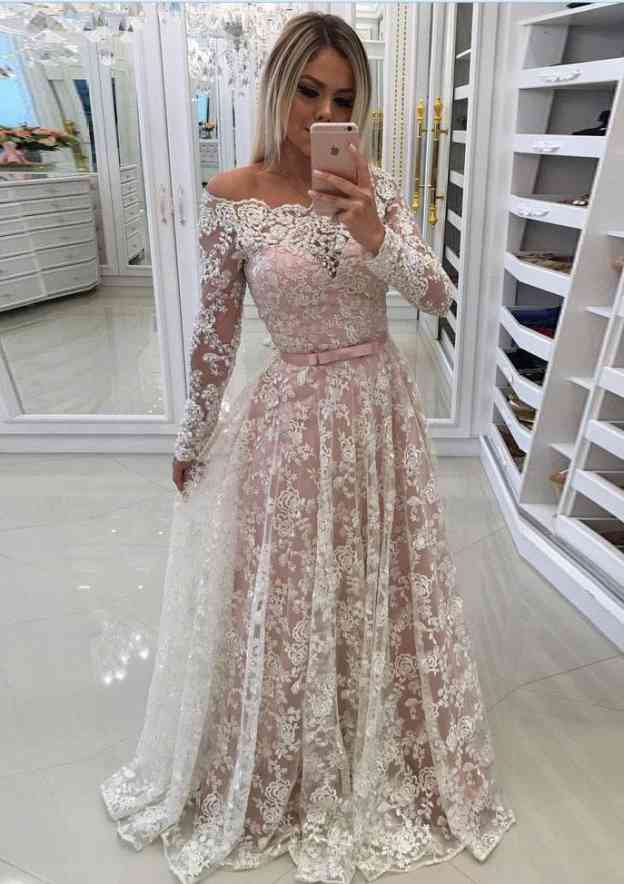 A-Line/Princess Off-The-Shoulder Full/Long Sleeve Long/Floor-Length Lace Prom Dress With Waistband Bowknot