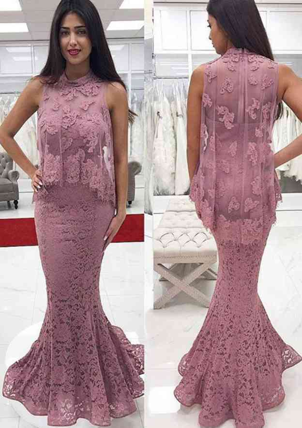 Trumpet/Mermaid High-Neck Sleeveless Long/Floor-Length Lace Prom Dress With Appliqued