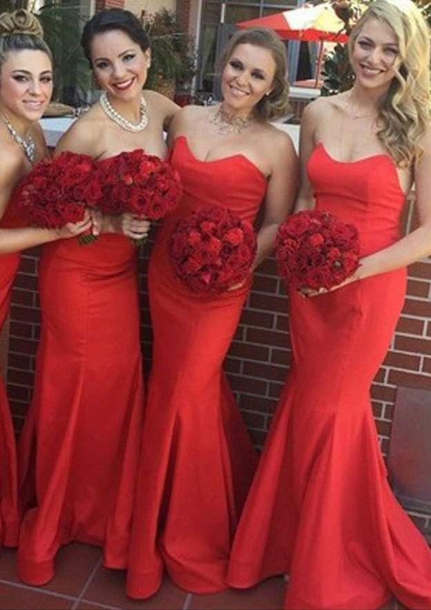 Trumpet/Mermaid Sweetheart Sleeveless Sweep Train Satin Bridesmaid Dresses