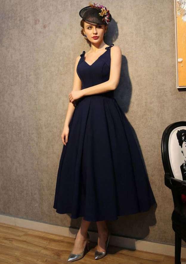 Ball Gown V Neck Sleeveless Tea-Length Satin Prom Dress