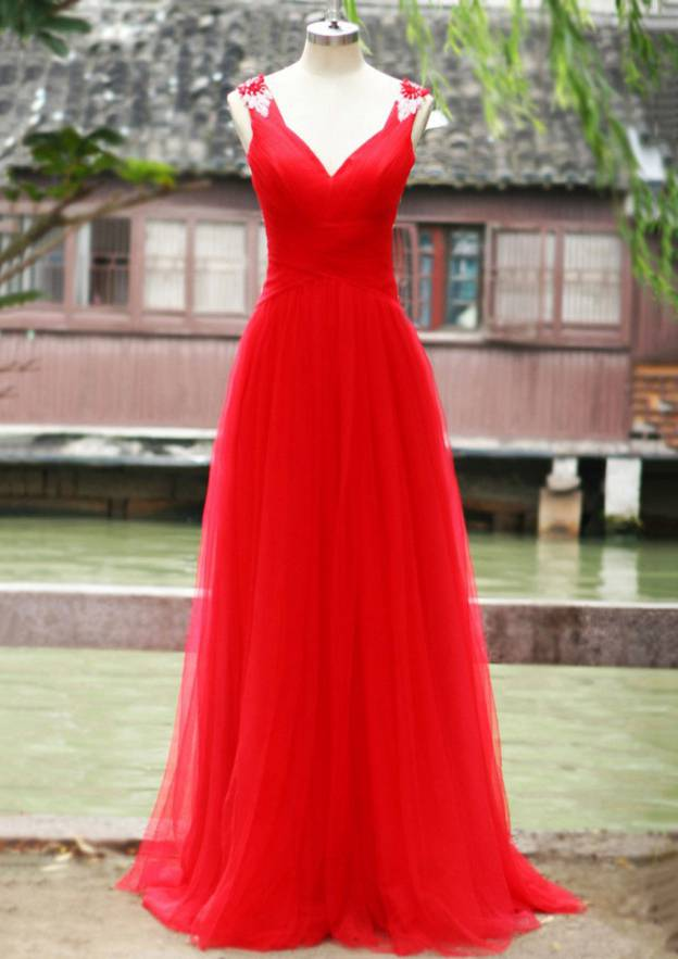 A-Line/Princess V Neck Sleeveless Sweep Train Tulle Prom Dress With Appliqued Rhinestone