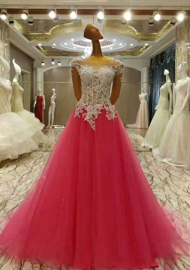 A-Line/Princess Bateau Full/Long Sleeve Court Train Tulle Prom Dress With Sequins Appliqued