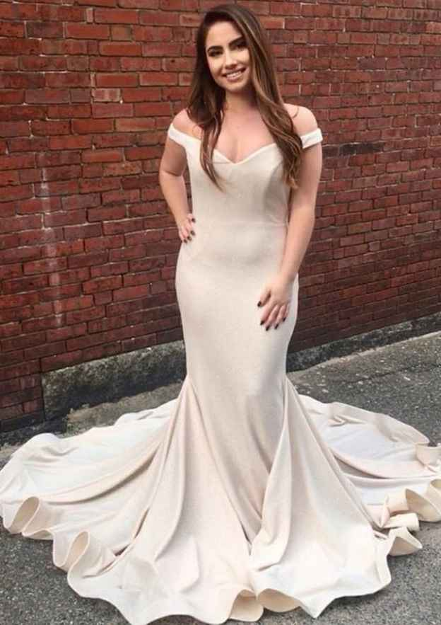 Trumpet/Mermaid Off-The-Shoulder Sleeveless Court Train Elastic Satin Evening Dress