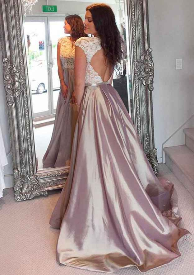A-Line/Princess Scoop Neck Sleeveless Court Train Taffeta Prom Dress With Lace