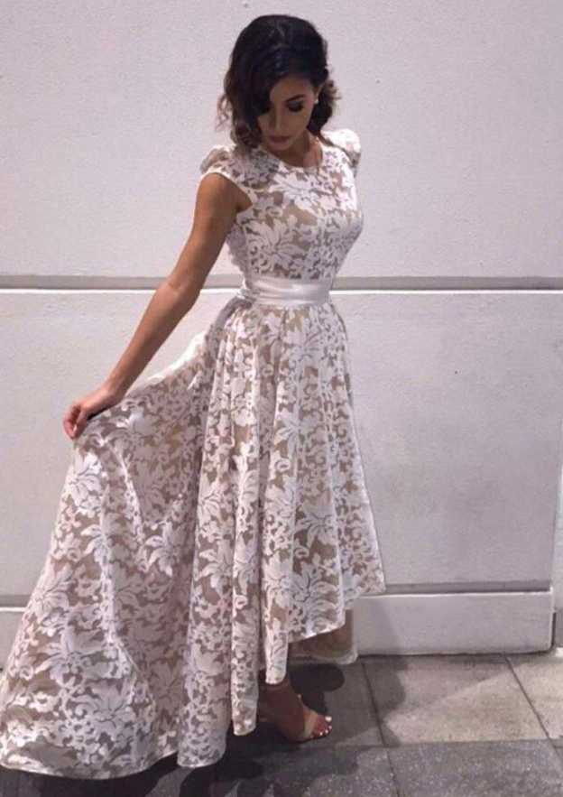 A-Line/Princess Scoop Neck Sleeveless Asymmetrical Lace Prom Dress With Sashes