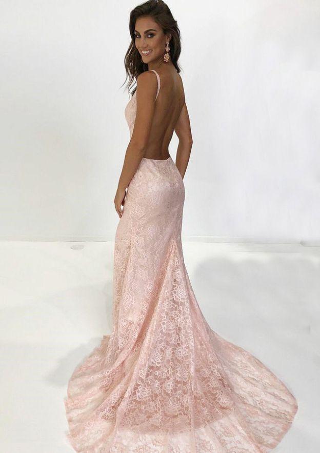 Sheath/Column V Neck Sleeveless Lace Evening Dress