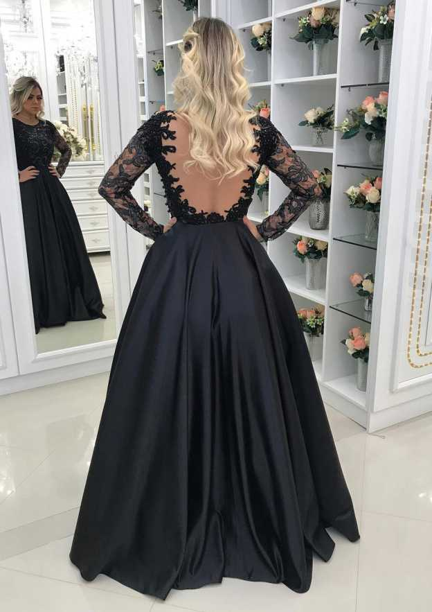 A-Line/Princess Scoop Neck Full/Long Sleeve Long/Floor-Length Satin Prom Dress With Appliqued Beading
