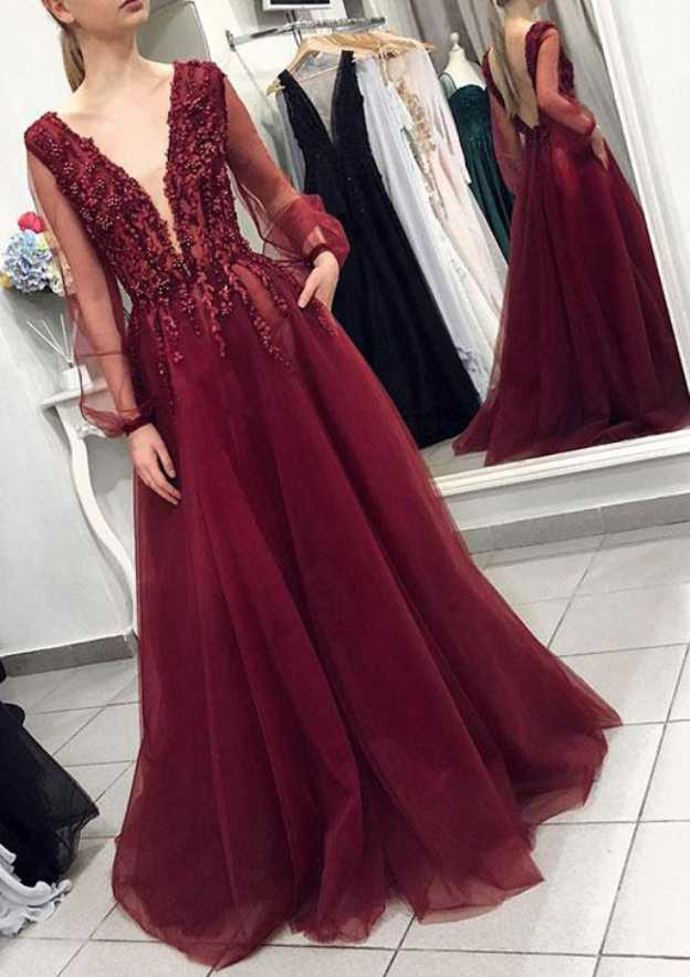 A-Line/Princess V Neck Full/Long Sleeve Sweep Train Tulle Prom Dress With Appliqued Beading
