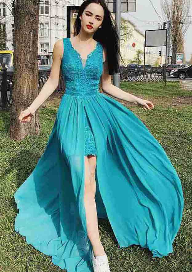 A-Line/Princess Scalloped Neck Sleeveless Sweep Train Chiffon Prom Dress With Lace Split