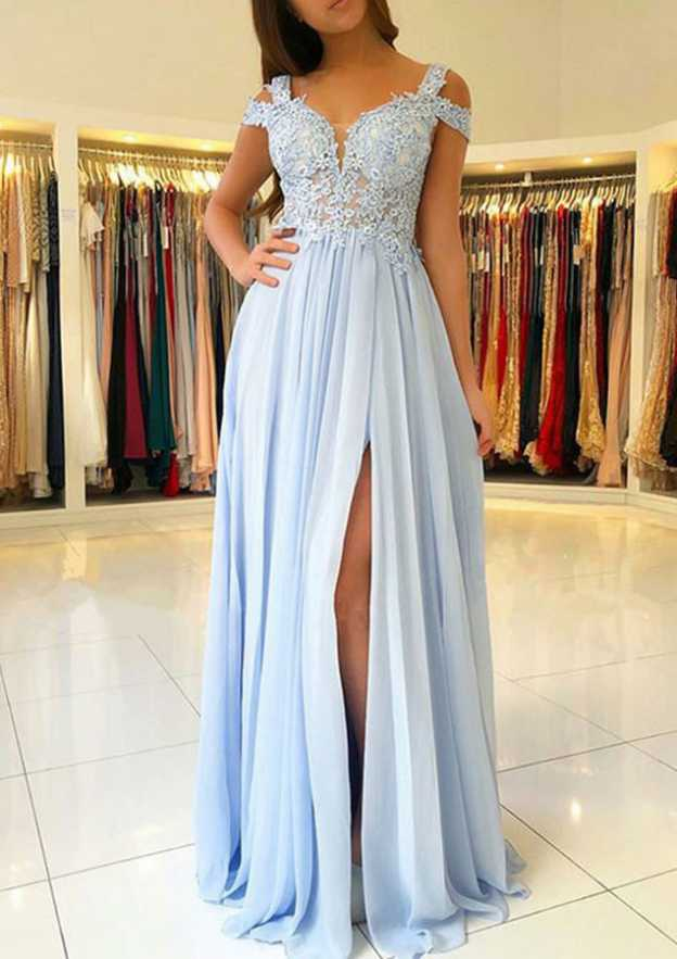 A-Line/Princess Scalloped Neck Sleeveless Sweep Train Chiffon Prom Dress With Split Appliqued