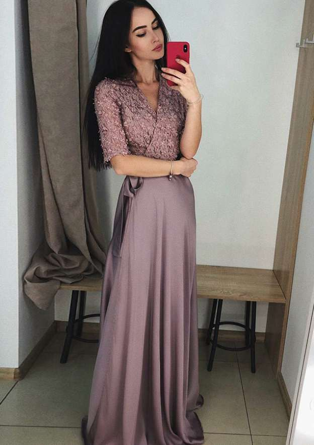 A-Line/Princess V Neck Half Sleeve Long/Floor-Length Charmeuse Prom Dress With Appliqued