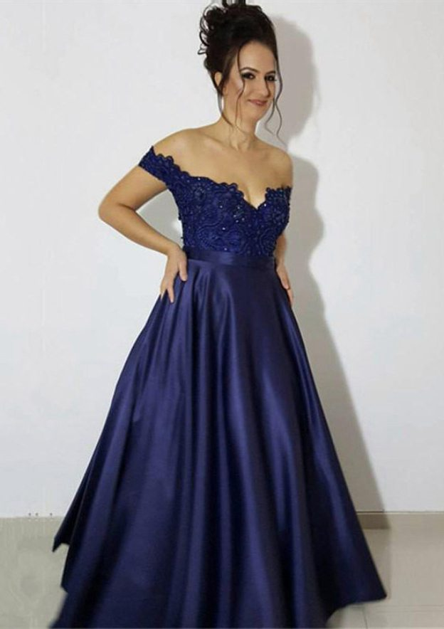 A-Line/Princess Off-The-Shoulder Sleeveless Long/Floor-Length Satin Prom Dress With Appliqued Beading