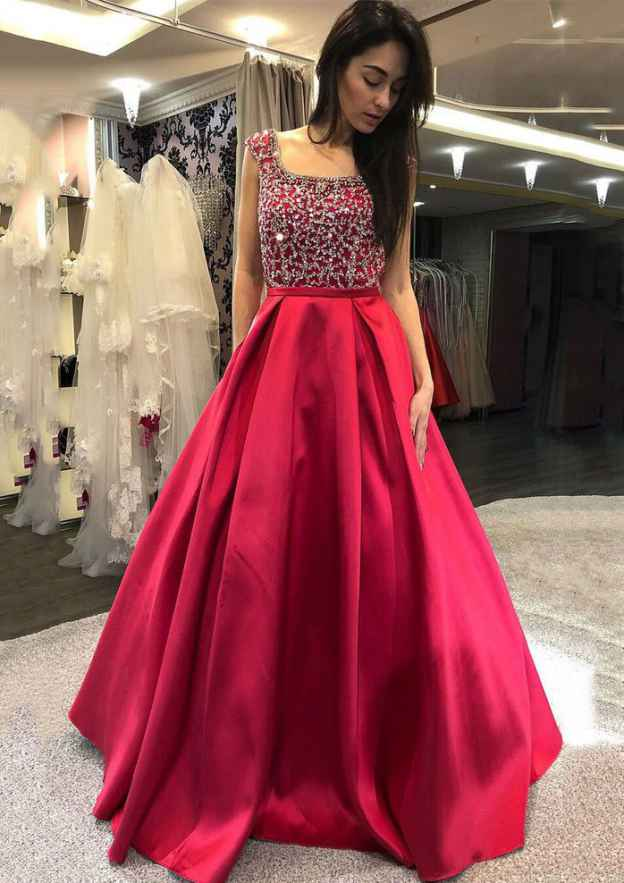 Ball Gown Square Neckline Sleeveless Long/Floor-Length Satin Prom Dress With Pleated Beading