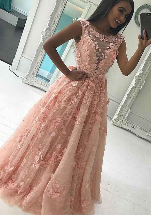 A-Line/Princess Bateau Sleeveless Long/Floor-Length Lace Prom Dress With Appliqued